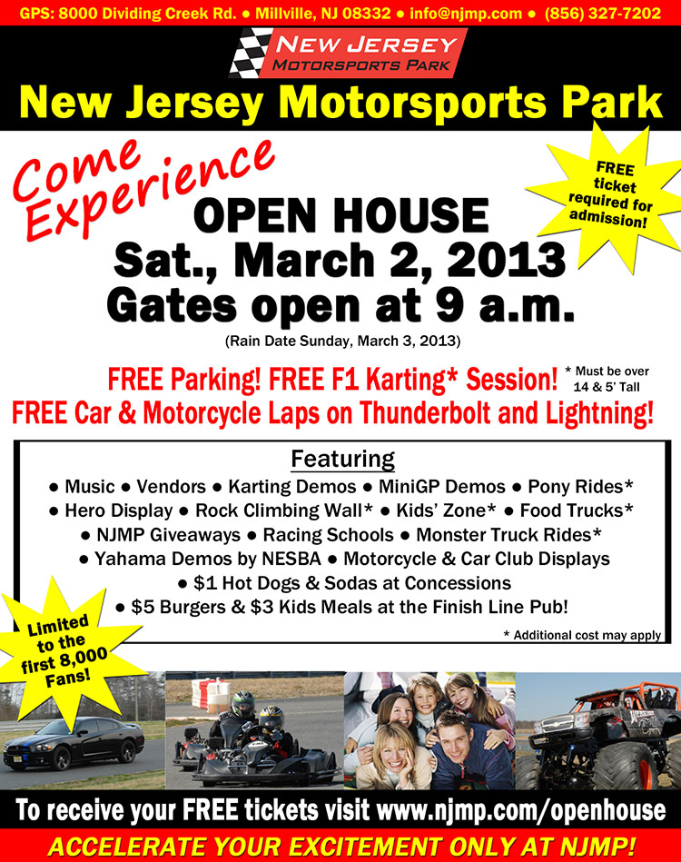 New Jersey Motorsports Park Open House March 2nd